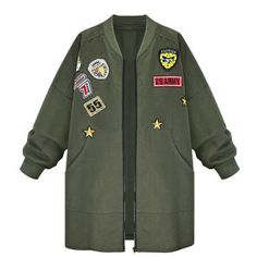Army Green Patch Embroidery Jacket (110 BRL) ❤ liked on Polyvore featuring outerwear, jackets, tops, coats, green military jacket, olive jacket, army green jacket, green camo jacket and embroidered jacket