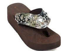 Montana West Rhinestone Bling Flip Flop Sandals Womens Wedge - Camo Cross