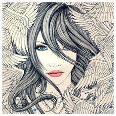 When doves cry  black ink, girl, illustration, illustration girl, wings