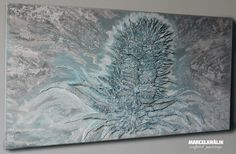 Winter thistle - 100 x 50 cm    A struggling winter thistle stands firm in the cold winter storm. The pale color palette supports the rather grim and tense depiction of a winter scenery.    Sculpted painting, carefuly handcrafted and painted on a wooden board. Mixed media, including acrylics and modified modeling foam.