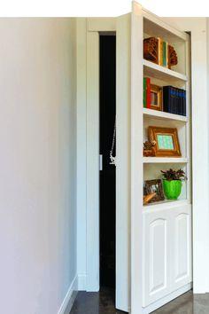 Hidden Bookshelf Door, Bookshelf Closet, Bookcase Door, Hidden Closet, Hidden Rooms, Homemade Bedroom, Mobile Home Redo, Murphy Door, Basement Doors