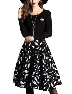 DanMunier Women's Long Sleeve Casual Sweater Knitted A-Lin Dress