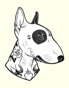 Found on RB – 22/07/2015 / Ink on paper / Bull terrier with some kickass old school, sailor jerry style tattoos. / INSPIRED BY ONE OF MY FAVORITE ARTISTS: http://www.redbubble.com/people/aamurray • Also buy this artwork on wall prints, apparel, kids clothes, and more.