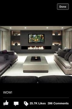 80 Ideas For Contemporary Living Room Designs - 2018 25 Best Modern Living Room Designs House Design, Living Room Tv, Interior Design, House Interior, Living Room Designs, Trendy Living Rooms, House, Home And Living, Contemporary Living Room