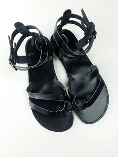 9fe54a1c7 Items similar to Leather Sandals Women Black Handmade Leather Shoes - Flat  Greek Sandals on Etsy. Flip Flop ...