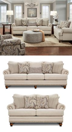 Enjoy a relaxed, classic style with this sofa in your living room. It offers a beautiful design with rolled arms, nailhead trim, and turned feet. Comfortable and reversible seat cushions and loose back cushions, along with two sets of square accent pillows and a kidney accent pillow, complete the sofa. The 2820 Cary's Doe Traditional Sofa with Nailhead Trim by Fusion Furniture at Great American Home Store in the Memphis, TN, Southaven, MS area. #ShopGAHS #Sofa