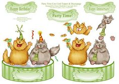 Party Time Cats Shaped Card Topper with Decoupage on Craftsuprint - Add To Basket!