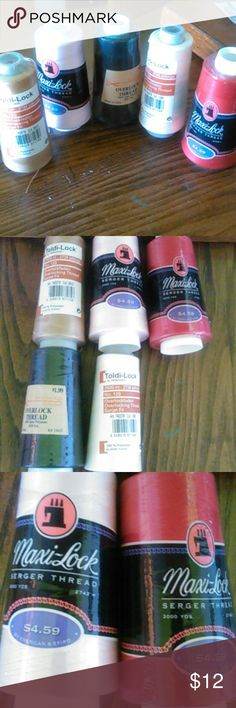 Lot of 5 NEW serger thread Lot of 5 NEW 2 maxi lock- pink & artillery 2 toldi lock - gold & off white 1 overlock - black Other