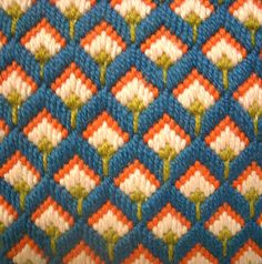 This is a great little bargello needlepoint pillow. Colors in teal, orange, ligh. - This is a great little bargello needlepoint pillow. Colors in teal, orange, light pink and lime gre - Broderie Bargello, Bargello Needlepoint, Needlepoint Pillows, Needlepoint Designs, Needlepoint Stitches, Plastic Canvas Stitches, Plastic Canvas Crafts, Plastic Canvas Patterns, Cross Stitch Designs