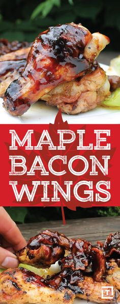 Everyone knows the best part of wings is the sauce and these wings feature a finger lickin' good sauce made with bourbon, maple syrup, and bacon. Bacon Recipes, Grilling Recipes, Cooking Recipes, Rub Recipes, Healthy Recipes, Bacon Appetizers, Appetizer Recipes, Comida Keto, Maple Bacon