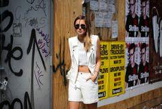 ADDISONxWeWoreWhat #allwhite #moto #vest #leather #shorts #blog #blogger