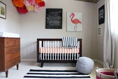 girl nursery, flamingo art, chalkboard printable. such a cute neutral space with pops of pinks and orange