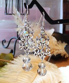 One of a Kind Sterling Silver and Crystal Earrings by bijoullery