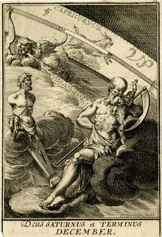 Plate 13: December. The Roman god Saturn on a cloud at centre, Terminus as a herm statue at left, and putto the zodiacal sign of Capricorn beyond. 1698 Engraving. #The British Museum