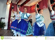 Dancers dancing in traditional Slovak costumes Editorial Stock Photo
