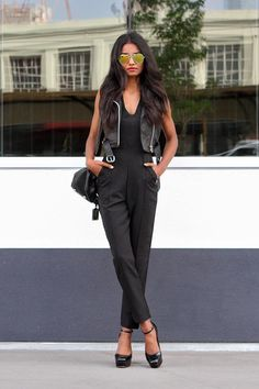 20 Ways to Pull Off Platforms This Spring  - cropped leather vest worn over a tailored jumpsuit, mirrored aviators, + worn with platform ankle strap heels