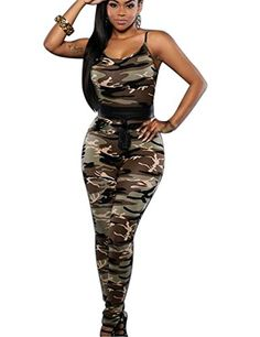 a573bd2799 Amazon.com  Women Round Neck Spaghetti Strap Backless Camouflage Clubwear  Jumpsuit Romper Camo XL  Clothing