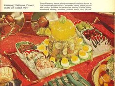 Lemony Salmon Tower | 17 Horrifyingly Disgusting Retro Gelatin Recipes  P.S. I actually have the book this is from..