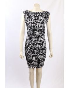 Black, White and Grey Printed Matte Jersey Cocktail Dress. The dress has a bubble hem and a wide boat neck line. Premium Brands, Boat Neck, Bubble, Black White, Cocktail, Neckline, Formal Dresses, Printed, Grey
