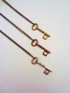 Set of key friendship necklaces. Bronze, copper, silver. Key to my heart. Small heart. Skeleton key. Best friend gift.