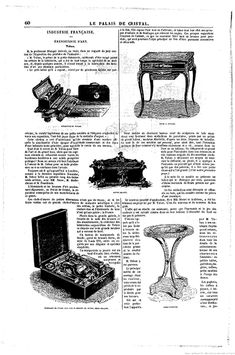 Engravings of the objects in Tahan's stand at the 1855 World's Fair, Le Palais de Cristal Architectural Antiques, Architectural Elements, Table Maker, Napoleon Iii, Le Palais, Albert Museum, Cabinet Makers, World's Fair, House