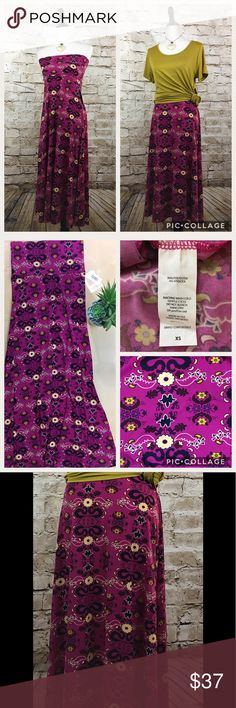 """LuLaRoe XS Maxi Skirt NWT No flaws, magenta pink with black, gold and cream floral pattern. Floor length flowing skirt with wide waist band. Easily converts to tube top style dress. Great for layering. Transitions effortlessly from day to night.  Size XS fits 2-4 Waist: 15"""" Length: 42"""" Please review all photos thoroughly  Feel free to ask questions  🚫trades 🚫modeling requests  👍🏻reasonable offers welcome! LuLaRoe Skirts Maxi"""