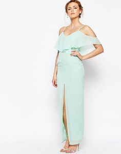 Elise Ryan | Elise Ryan Frill Maxi Dress With Split Front at ASOS