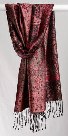 """silk, 14 """"x Cranberry and black. Soft-wearing, stunning and luxurious traditional patterns. Woven on antique, family-owned, small production jacquard Kimono Top, India, Silk, Inspired, Pattern, How To Wear, Inspiration, Black, Tops"""
