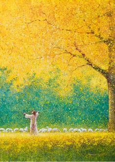 original artwork painting of jesus christ in a field of gold with outstretched hands under a tree with yellow leaves and a flock of sheep Lds Art, Bible Art, Arte Lds, Jesus Christ Painting, Paintings Of Christ, Jesus Artwork, Art Paintings, Christian Artwork, Christian Paintings