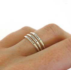 Stackable Name Ring, dainty name ring, personalized ring with your word choice, mom ring, stacking r Stackable Name Rings, Upper And Lowercase Letters, Mom Ring, Tiny Rings, Personalized Rings, Jewelry Stores, Gifts For Mom, Metal Clay, Solid Gold