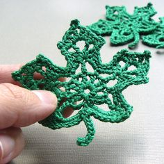 4 Kelly Green Leaf Appliques Crochet Maple by CaitlinSainio, $16.00