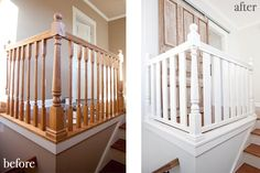 White Oak Banister with Spindles View more at http://awoodrailing.com