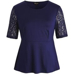 Chicwe Women's Stretch Peplum Plus Size Tunic Top With Floral Lace... ($21) ❤ liked on Polyvore featuring tops, tunics, plus size tunics, button up shirts, blue button-down shirts, navy blue shirt and navy blue button up shirt