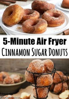 Cinnamon Sugar Air Fryer Donuts - - Cinnamon Sugar Air Fryer Donuts Best Desserts EVER! Air Fryer Donuts that are made from refrigerated biscuits! Just and 5 minutes to make. These delicious donuts will be your new favorite Air Fryer recipe! Air Fryer Oven Recipes, Air Frier Recipes, Air Fryer Dinner Recipes, Air Fryer Recipes Donuts, Air Fryer Doughnut Recipe, Donut Recipes, Cooking Recipes, Cool Recipes, Food Recipes Snacks