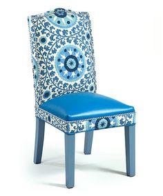 Look at this #zulilyfind! Blue & Gray Signature Leather Chair #zulilyfinds