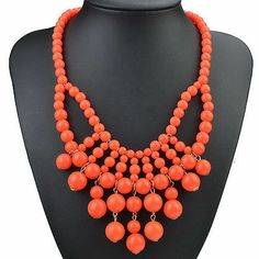 Orange Multi Acry Beads Thread Duchess Choker Statement Bib Necklace X778H | eBay