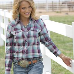 The Perfect Cruel Girl Plaid Long Sleeve Snap Down Shirt - Country Chic - D&D Texas Outiftters