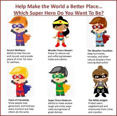 Help us make the World a better place. Which Super hero will you be?