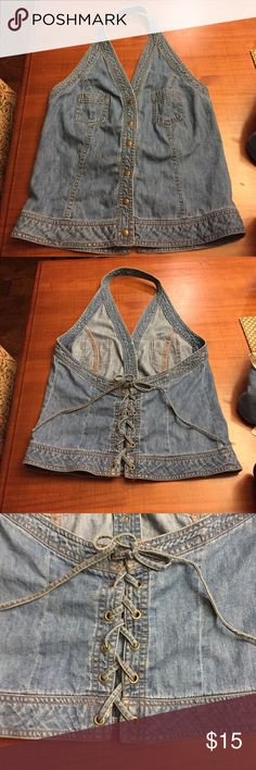 Vintage lace up low back denim tank Vintage low lace up back denim tank. Looks adorable tucked into a high waisted skirt, then it looks like it's backless. This piece is so cute, just too big on me :( Tops Tank Tops