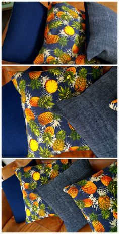 Decorating with a tropical touch? These fun cushion covers are made with a rich, colourful pineapple print on quality denim fabric. Handmade by our KOBOMO team.  Shop this product > Online or visit us in Noosa!  www.kobomo.com.au <3