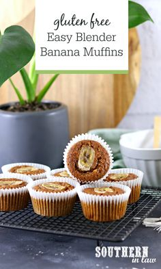 Easy Blender Banana Muffins Recipe (Gluten Free) - no mixer needed for this easy and healthy blender or food processor recipe!