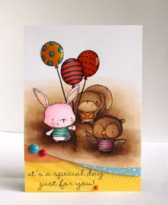 Alice Wertz: Alice's {Little} Wonderland – Willa, Sammy and Ruby with Balloon Trio - 4/25/14.  (Purple Onion Designs: Willa Walking Bunny, Sammy Squirrel  with Striped Shirt, Ruby Flying Owl, Balloon Trio &Streamer, A Beautiful Day Sentiments).  (Pin#1: Animals... Pin+: Balloons...).