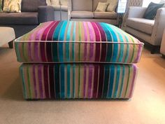 British bespoke feather filled loose cushion top footstool measures 85 cm wide x 75 cm deep x 50 cm high. Covered in Designers Guild Moyka fabric, which is now discontinued. Still, a thing of total beauty! Bespoke Sofas, Cushion Filling, Designers Guild, Sofa Bed, Feather, Chairs, British, Cushions