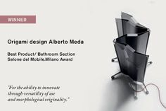 """Origami designed by Alberto Meda is the best product of the bathroom section 2016! We are very flattered that the jury that visited the Salone last April in Milan has decided to reward our light-weight high-tech radiator """"for its ability to innovate through versatility of use and morphological originality"""". Photo courtesy: Salone del Mobile Milano #tubesradiatori #winner #designaward #salonedelmobileaward #origami #origamimeda #albertomeda #design #designproduct #madeinitaly #bestproduct"""