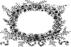 Vintage Floral Wreath Clip Art Image | Oh So Nifty Vintage Graphics