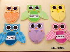 Búhos con los días de la semana. Owls with the days of the week