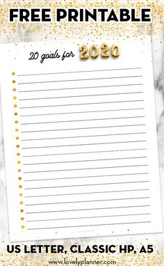 summer goals planner Free 20 Goals for 2020 printable to help you define 20 goals youd like to accomplish in 3 sizes included: US letter, Classic Happy Planner. Free Planner, Weekly Planner, Printable Planner, Planner Stickers, Free Printables, Goals Printable, Planner Template, Planner Layout, Goals Planner