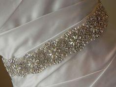 Pearl and Rhinestone Flower Bridal Sash  by GlitterAndGlitzBride, $108.00