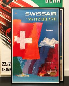 Swiss Air, Swiss Travel, Swiss Design, Exhibition Poster, Sign Printing, Holiday Destinations, Bold Colors, Vintage Posters, Switzerland