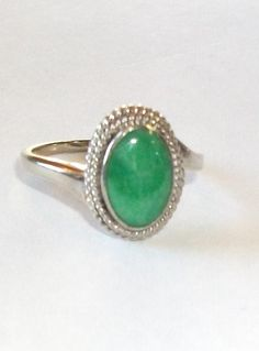 Vintage 14K White Gold Oval JADE Ring Size 8 by feathersoup, $145.00  Item sold May 16th